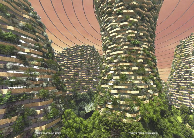 Shanghai 2117 Imagines Vertical Forest Architecture for Future Mars Colonization, Courtesy of SUSAS 2017