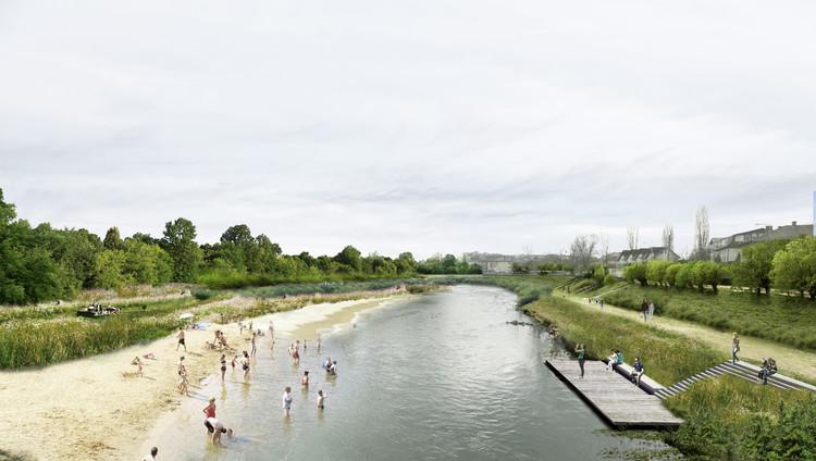 PRÁCTICA, primer lugar en concurso internacional para intervenir 15 kilómetros del río Somes en Rumania, Playa. Image Cortesía de PRÁCTICA