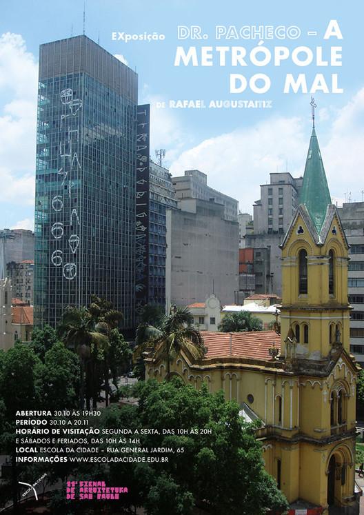 """30/10 - Escola da Cidade abre EXposição """"Dr. Pacheco - A metrópole do mal, de Rafael Augustaitiz"""", A exposição faz parte da programação da 11ª Bienal de Arquitetura de São Paulo, evento que tem o apoio da Escola da Cidade."""