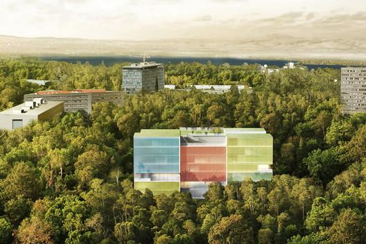 Aerial View. Image © Steven Holl Architects and Rüssli Architekten
