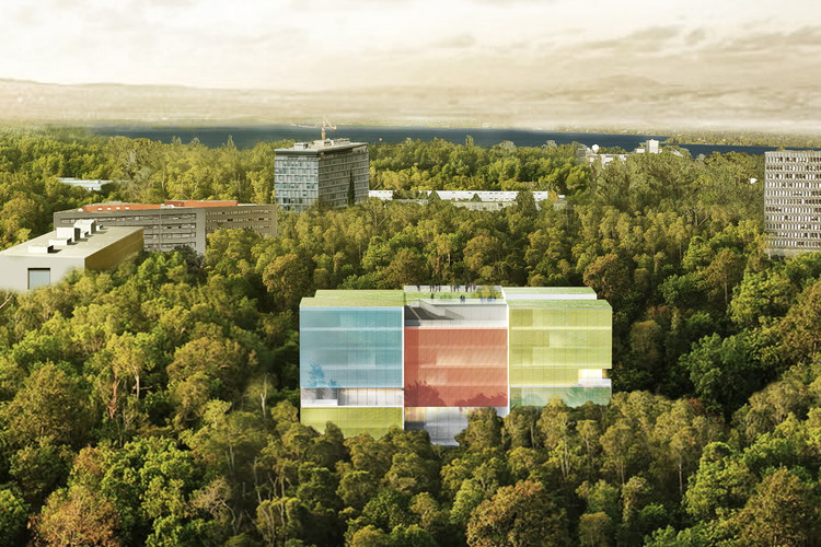 Steven Holl Architects Designs Colored Photovoltaic Glass Building for Doctors Without Borders' Geneva Office, Aerial View. Image © Steven Holl Architects and Rüssli Architekten