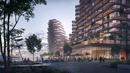 The Parliament Slip with its boats and promenade will be activated by retail and balconies. Image © 3XN