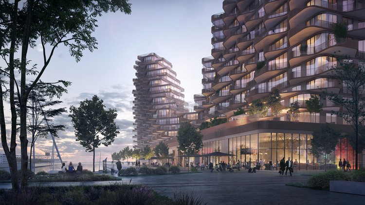 3XN divulga projeto de uso misto na orla de Toronto, The Parliament Slip with its boats and promenade will be activated by retail and balconies. Image Courtesy of 3XN