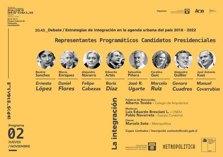 Asesores de candidatos presidenciales debatirán sobre agenda urbana en XX Bienal de Arquitectura en Chile