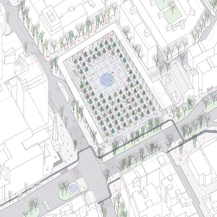 PRACTICA, segundo lugar en concurso de remodelación de la Plaza de los Misterios en Madrid, Axonometría