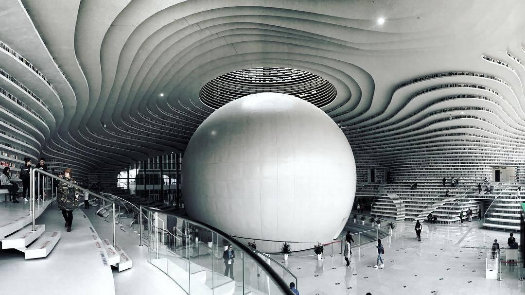 La Biblioteca Tianjin Binhai en China. Una de las más espectaculares del mundo.