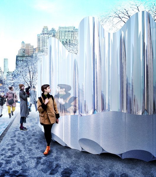 "Future Expansion's ""Flatiron Reflections"" to Transform Flatiron Public Plaza For The Winter, Courtesy of Van Alen Institute"