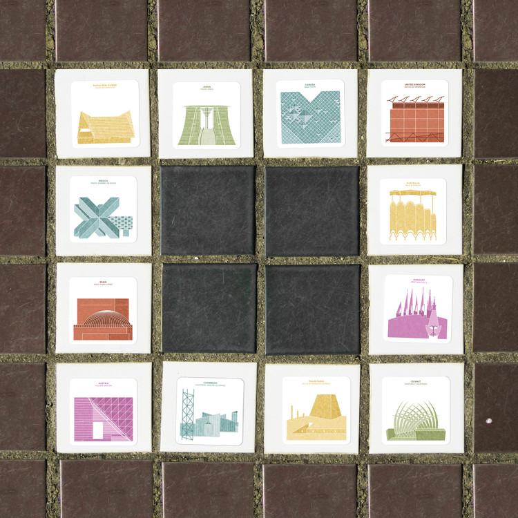 Estas cartas integran ilustraciones de ciudades y monumentos arquitectónicos para un juego de memoria, Cortesía de Arquitectura a Contrapelo
