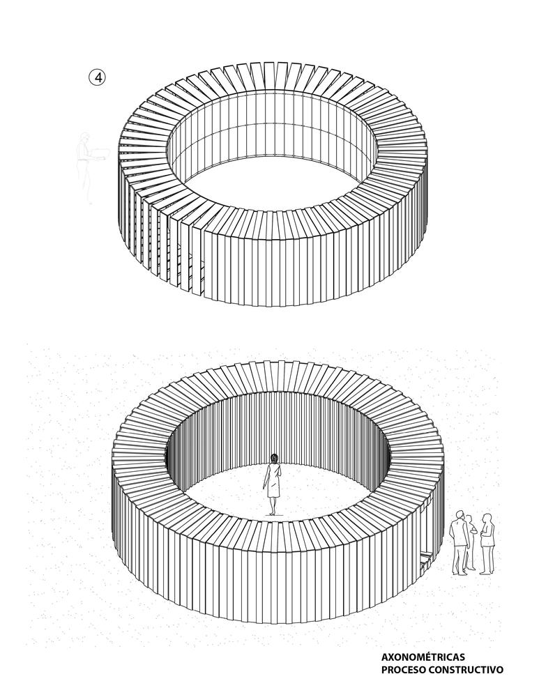 Galería de MUYU, Cámara Circular: 70 marcos de madera construyen una ...