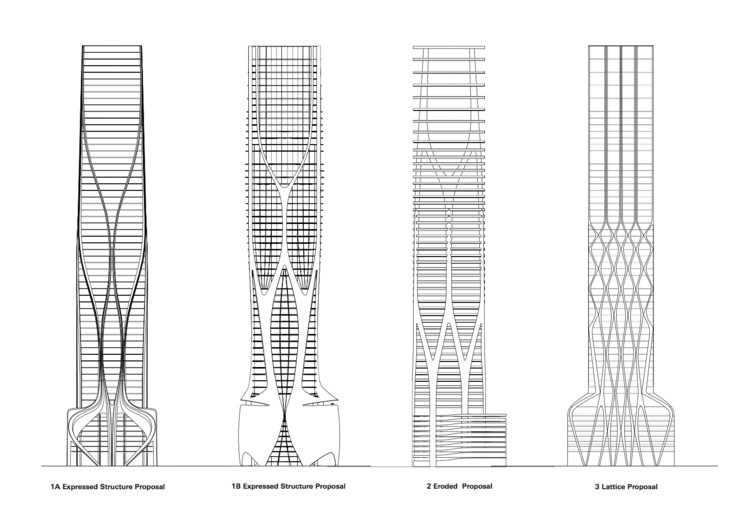 Structural Design of Zaha Hadid's 1000 Museum Revealed in CAD Drawings, Structural Proposals. Image © Zaha Hadid Architects