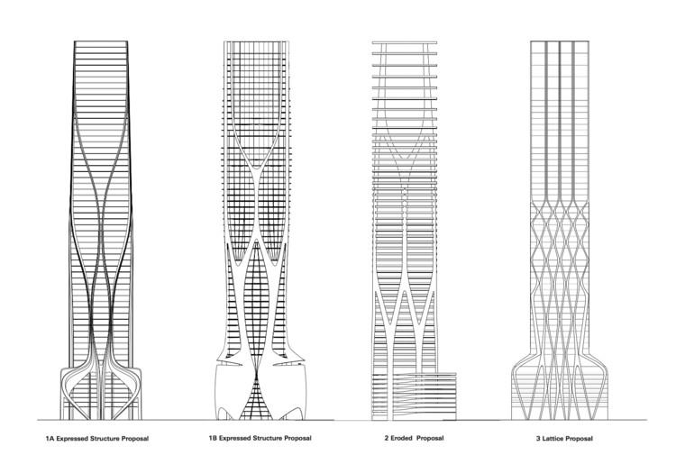 Zaha Hadid presenta planimetría estructural del proyecto 1000 Museum en Miami, Propuestas estructurales. Imagen © Zaha Hadid Architects