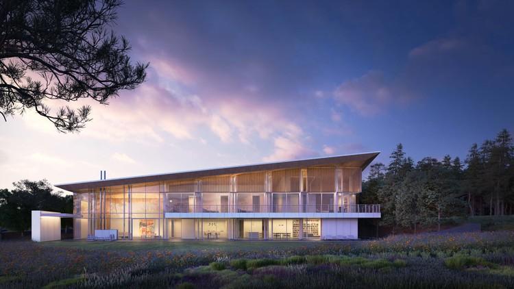 Richard Meier & Partners projeta duas casas em condomínio residencial na República Tcheca, Villa 1 - Elevação Sul. Imagem © Bloomimages