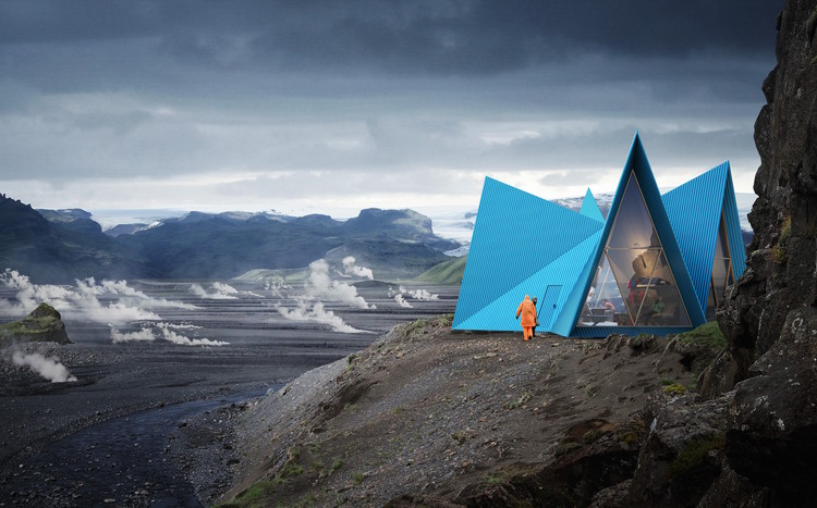Striking Easily Assembled Cabins Will become Symbols for Shelter and Safety Along Remote Trekking Paths , © www.mir.no