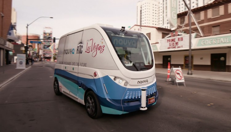 Self-Driving Bus in Las Vegas Crashes Just 2 Hours After Launch, Image via screenshot from video © Keolis Commuter Services