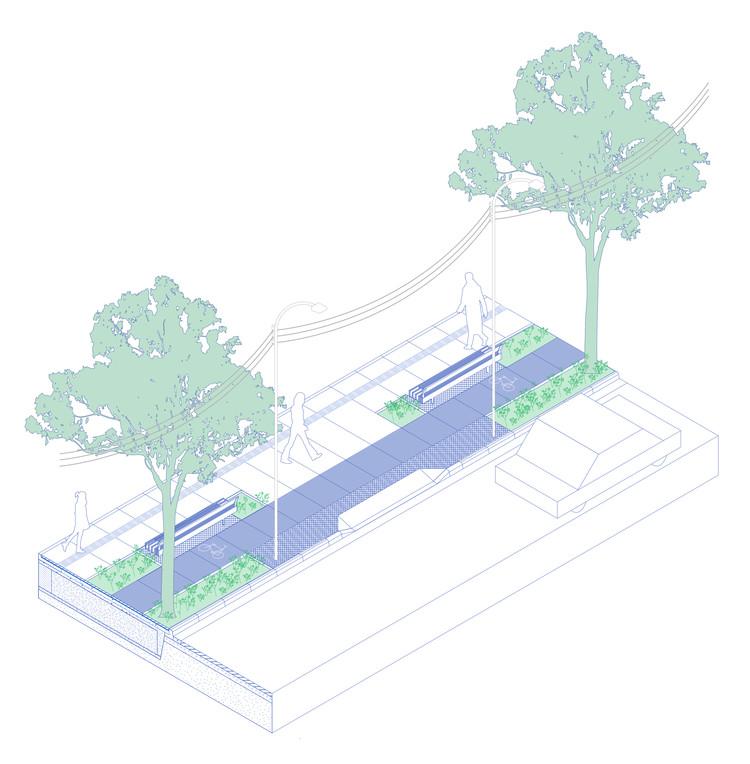 Isométrica mostrando a implantação das árvores junto à calçada. Cortesia de ssamataatlantica.com