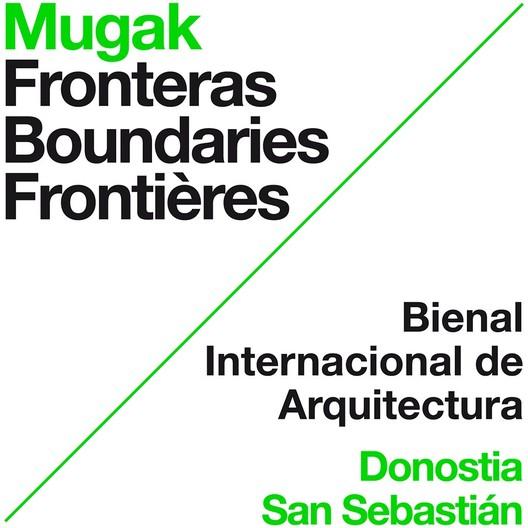 Afiche oficial de MUGAK, la I Bienal Internacional de Arquitectura de Euskadi. Image Cortesía de MUGAK