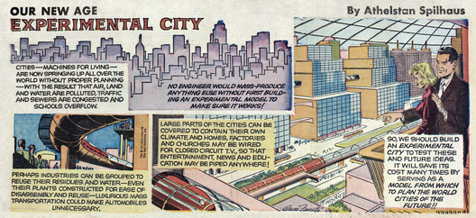 """Spilhaus' """"Our New Age"""" comic from 1966 about his recently-proposed Experimental City project. Image Courtesy of The Experimental City Documentary"""