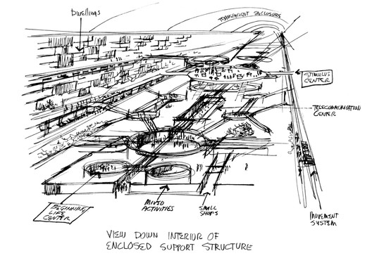 Conceptual drawing of MXC megastructure's interior, by MXC urban designer N.J. Pinney. Image Courtesy of N.J. Pinney