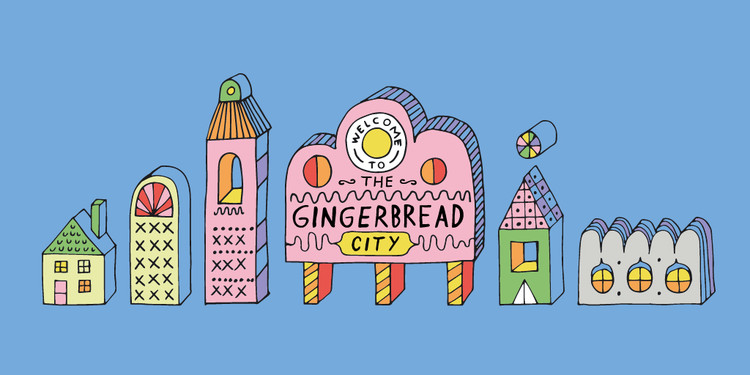 Call for Entries: Museum of Architecture's (London) Gingerbread City Exhibition Competition, Illustration by Gilles and Cecilie Studio