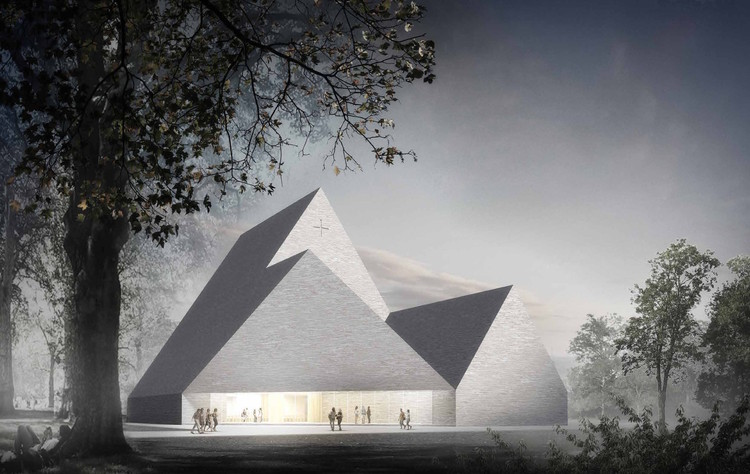 "K2S Architects Wins Competition to Replace Fire-Razed Church in Ylivieska, Finland, Winner - ""Trinitas"" / K2S Architects. Image © K2S Architects"