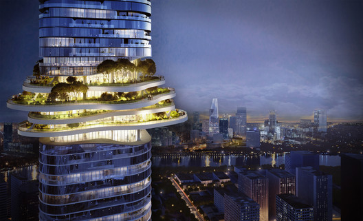 Sky Forest above Skyline. Empire City by Ole Scheeren. Image © Buro Ole Scheeren