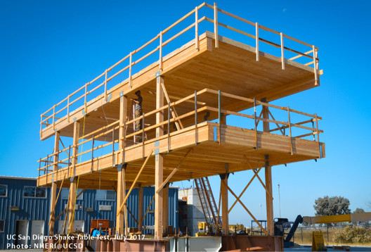 The Science Behind the Next Generation of Wood Buildings, UC San Diego Shake Table Test | Photo: NEHRI@UCSD
