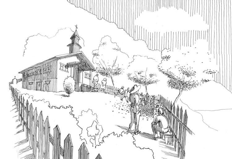 Arquitectura religiosa en contextos rurales y el dibujo como medio de investigación, Iglesia de Pocoihuén bajo . Image Cortesía de José Tomás Schmidt Canessa