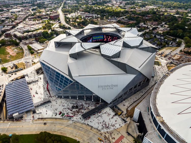 HOK's Mercedes-Benz Stadium Will Be the First LEED Platinum-Certified Pro Sports Stadium in the US, via HOK