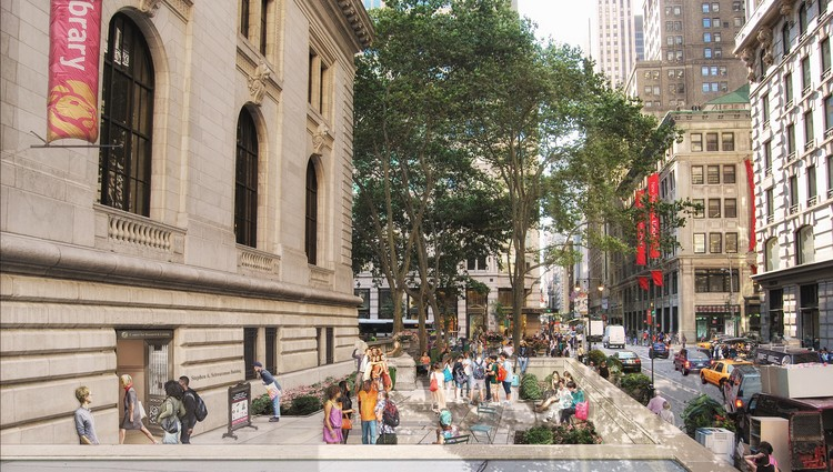 Mecanoo and Beyer Blinder Belle Unveil $317 Million Masterplan for the New York Public Library's Main Branch, The master plan for the flagship building of the New York Public Library includes creating a new entrance on 40th Street, near Fifth Avenue. Image Courtesy of Mecanoo with Beyer Blinder Belle