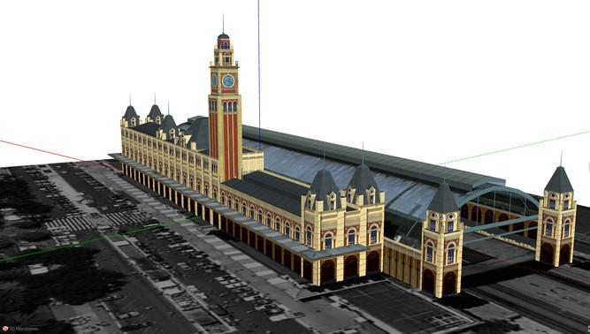 O InfoPatrimônio também dispõe de modelos tridimensionais, como este, da Estação da Luz, em São Paulo. Image Cortesia de InfoPatrimônio