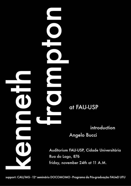 Kenneth Frampton na FAU-USP, cartaz da palestra