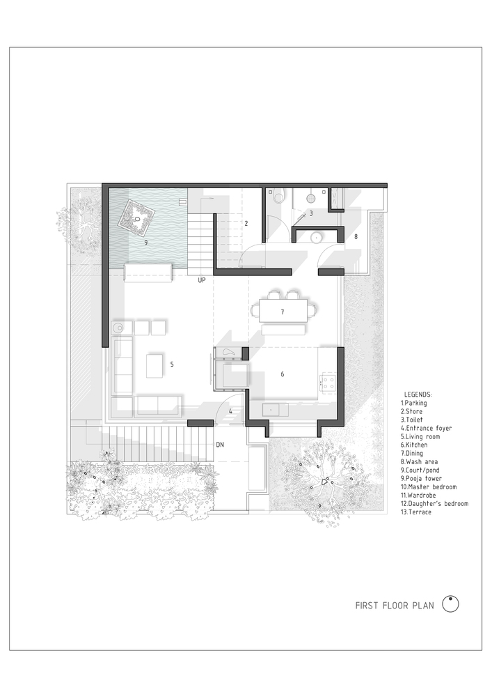 The H Cube House,First Floor Plan