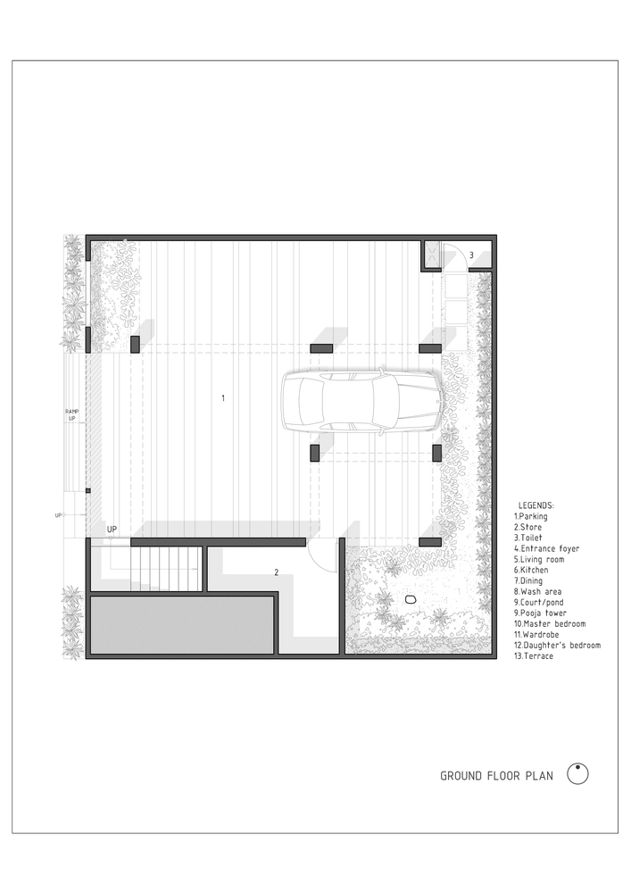The H Cube House,Ground Floor Plan