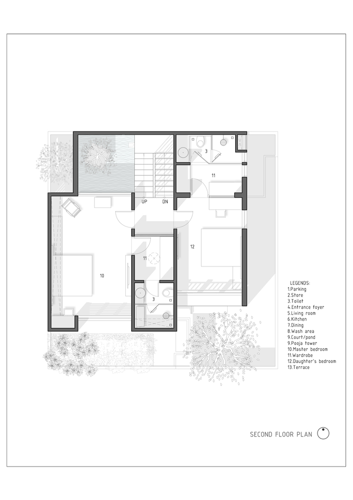 The H Cube House,Second Floor Plan