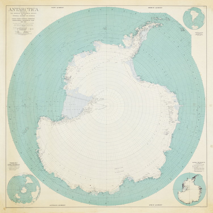 "2018 Istanbul Design Biennial, ""A School of Schools"", Launches Open Call, Map of Antarctica (American Geographical Society, 1956). Image Courtesy of IKSV"