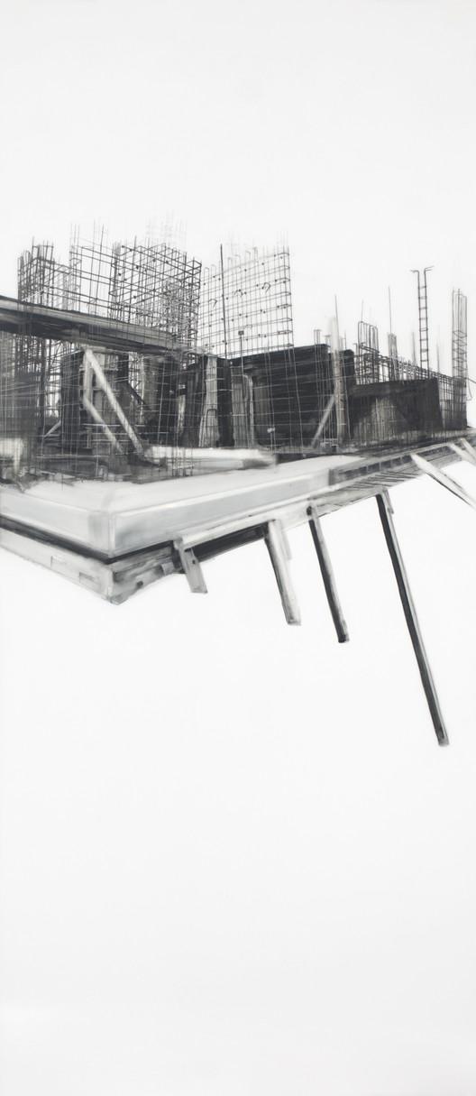 Exposición 'Estructural', Isidora Villarino H. © dibujo en base a pigmento y grafito sobre polie_ster. 90 x 40 cm. 2018 (b)