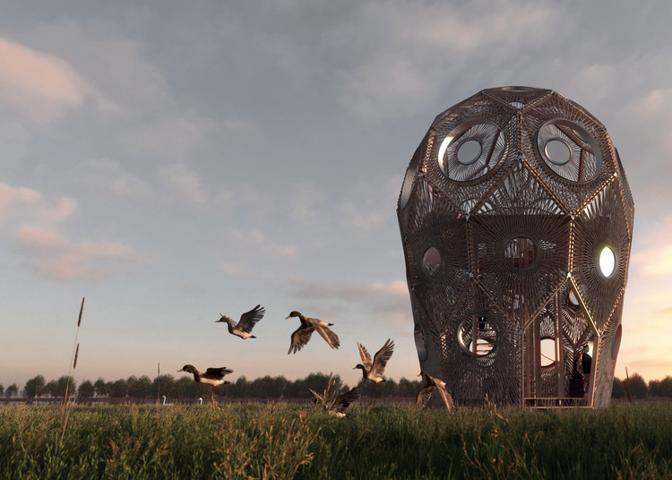 Bee Breeders Announces Winners of Pape Bird Observation Tower Competition, First Prize. Image Courtesy of Bee Breeders