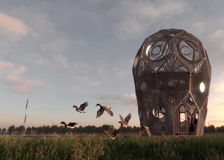 Bee Breeders anuncia los ganadores de concurso que busca reponer una torre de observación en Letonia, Primer Lugar. Imagen cortesía de Bee Breeders