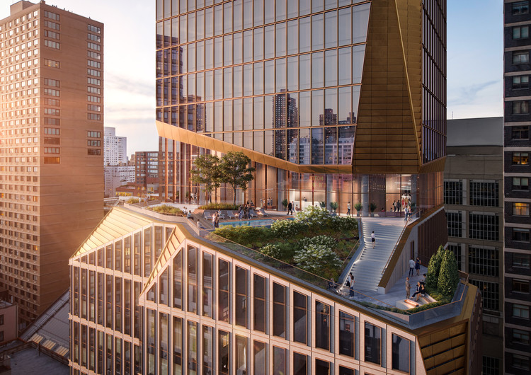 Snøhetta Unveils Carved Residential Tower and Synagogue for New York City's Upper West Side, View northeast of shared amenity terrace. Image © Binyan Studios