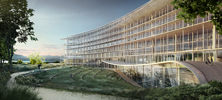 Herzog & de Meuron Wins Competition for Swiss Bank Headquarters Overlooking Lake Geneva , Courtesy of Herzog & de Meuron