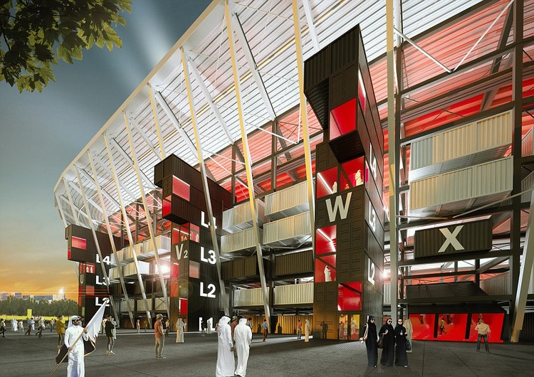 A Modular, Demountable Stadium Built From Shipping Containers Will Be Erected for Qatar 2022 World Cup, Courtesy of The Supreme Committee for Delivery & Legacy