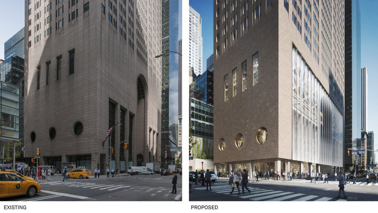 Facing Major Renovations, Philip Johnson's AT&T Building Gets Hearing for Landmark Designation, Renovation plans would significantly alter the building's street presence. Image © DBOX