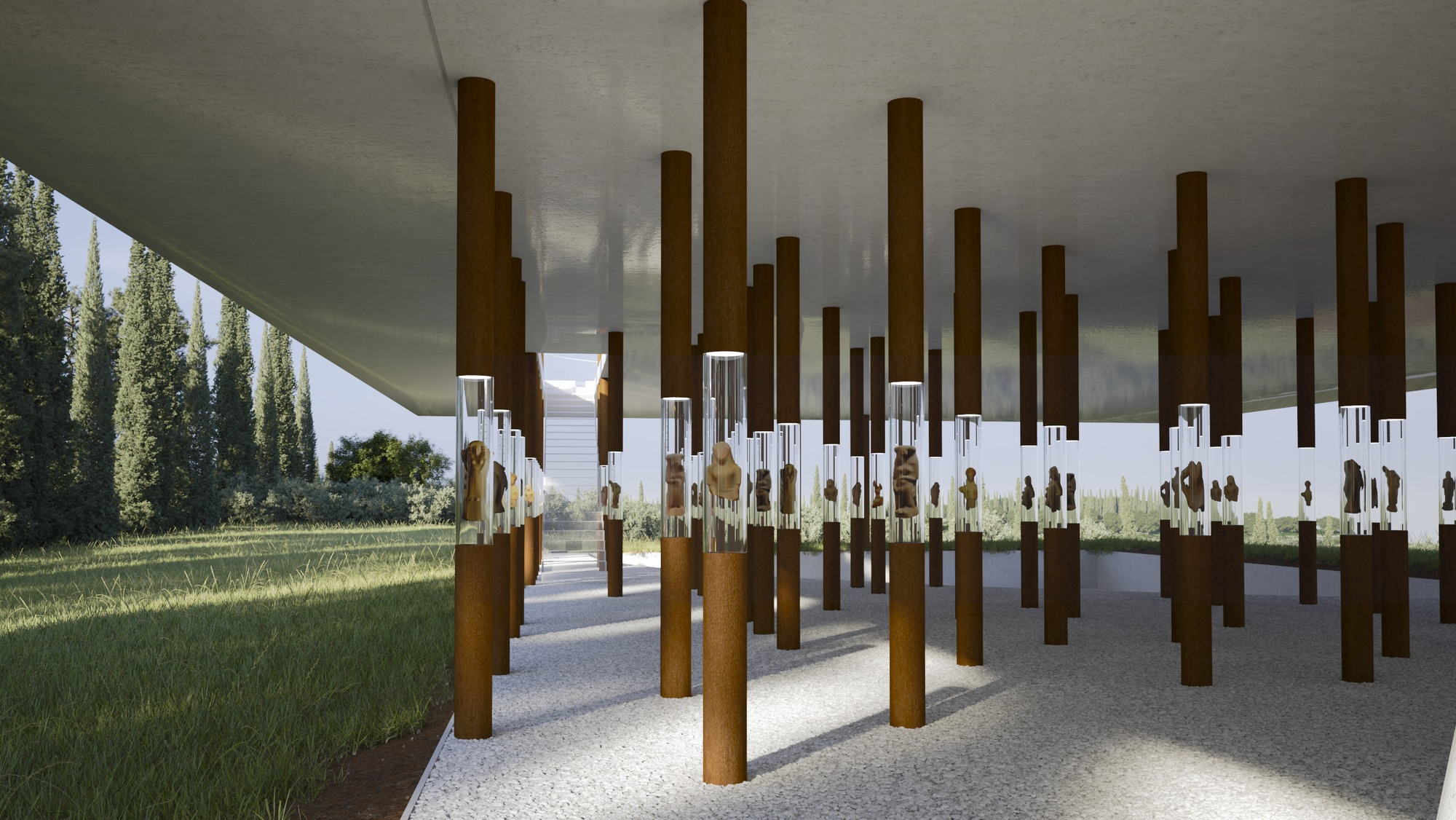Museum Proposal Displays Floating Figurines In Corten