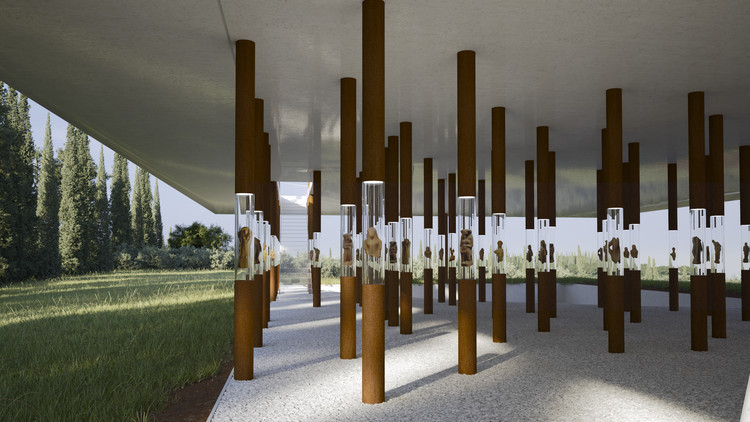 Museum Proposal Displays Floating Figurines in Corten Columns of Light, Courtesy of Ziad Abi Karam for Shiogumo