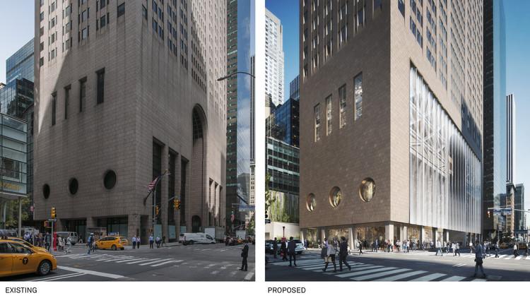 Alvo de um projeto de renovação, AT&T Building de Philip Johnson é aprovado na primeira etapa do processo de tombamento em Nova Iorque , O projeto de renovação mudaria significativamente a presença do edifício na escala do pedestre. Image © DBOX