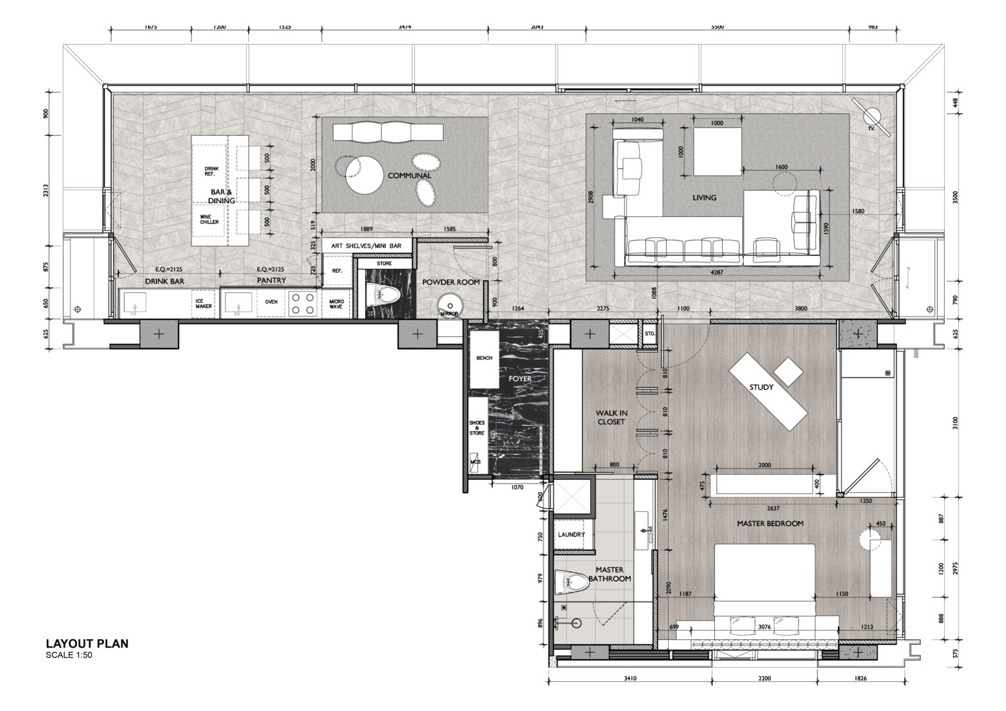 Fhm Bachelor Apartment Ong Pte Ltd Layout Colored Plan