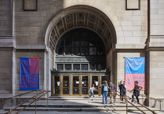 The outside of the Chicago Cultural Center at the 2017 Chicago Architecture Biennial. Image © Tom Harris
