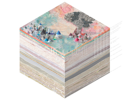 7017: 5,000-Year Geologic Axonometric Projection (12,000' H x 12,000' W x 9,500' D) . Image Courtesy of Arch Out Loud