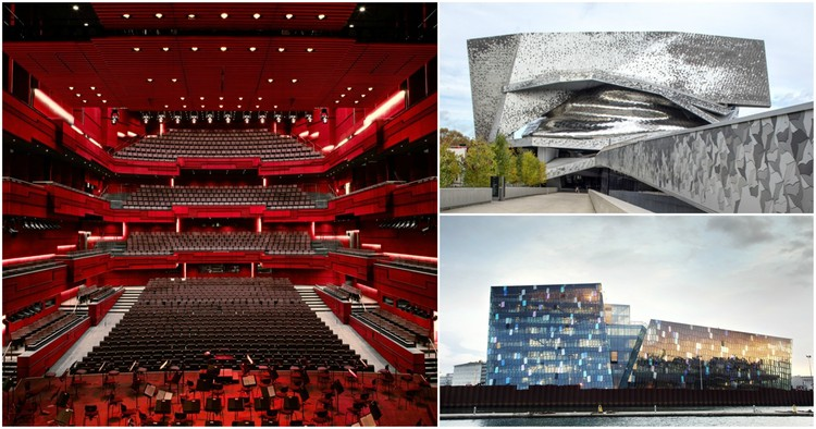 Contemporary Concert Halls Have Become Multi-Functional Catalysts for Urban Change, Left and bottom-right: Harpa Concert Hall, image Courtesy of Henning Larsen Architects; top-right: Philharmonie de Paris, image © Danica O Kus