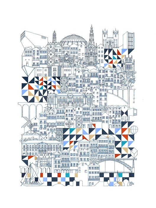 Cities Intricately Captured in Thin Line Illustrations, Courtesy of Marta Vilarinho de Freitas